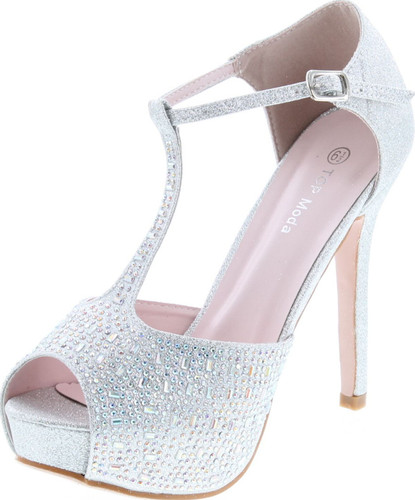 Top Moda Meadow-1 Women's Rhinestone T-Strap Stiletto Heel Glittery Platform Pumps