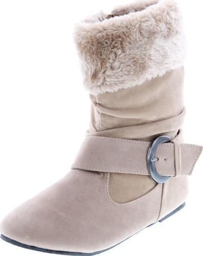 Static Footwear Girls Fashion Faux Suede Fur Cuff Boots