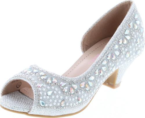 Bella Marie Truly-8 Fashion Rhinestones Kids Peep Toe Slip On Girls Kitten Heels Sandals Dress Shoes