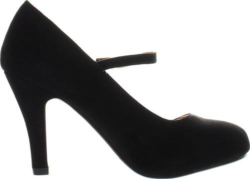 Bella Marie Helena-13 Women's Almond Toe Low Heel Mary Jane Glitter Or Suede Pumps
