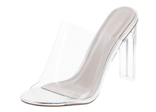 Static Footwear Women's Clear Open Toe Single Band Chunky Heels Mules High Heels Slip On Slide Sandals