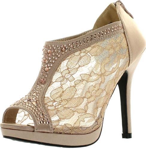 De Blossom Yael-9 Womens Wedding Bridal High Heel Platform Cystal Lace Ankle Bootie Shoes
