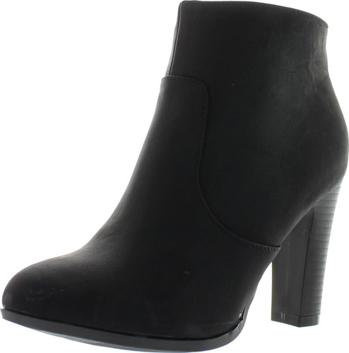 Top Moda Oscar-1 Women's High Top Ankle Side Zip Chunky Heels Nubuck Booties