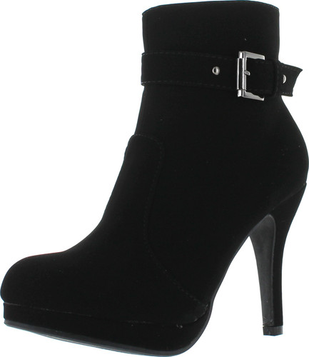 Top Moda George-15 Women's Strap Buckle Stiletto Heel Ankle Booties
