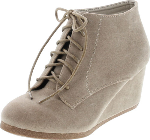 Bella Marie Brenda-11 Women's High Top Lace Up Rounded Toe Platform Wedge Suede Booties