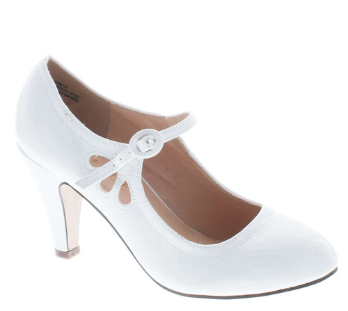 Chase & Chloe Kimmy-21 Womens Round Toe Mid Heel Mary Jane Pumps-Shoes Pumps