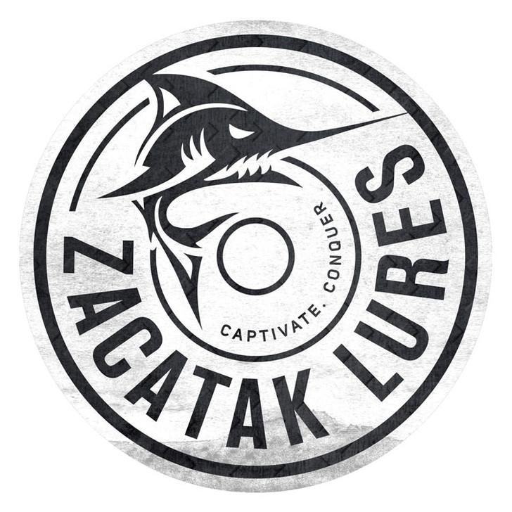 Zacatak Lures Vinyl Sticker Decal 20cm Round White