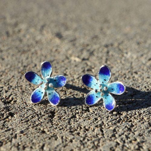 Sky Blue Flowers Earrings (1142520EPP)
