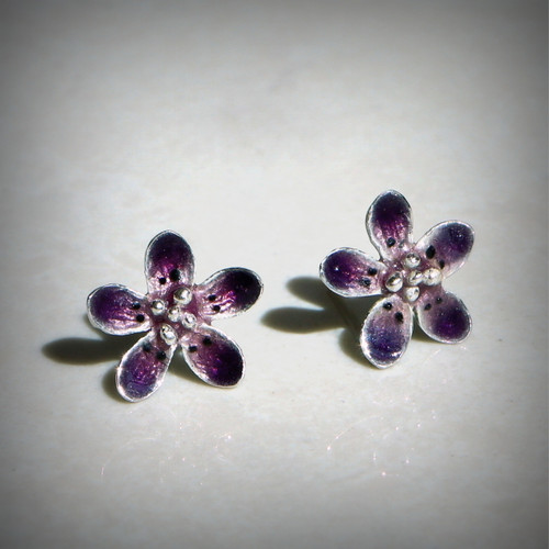 Violet Flowers Earrings (1142520EPP-V)