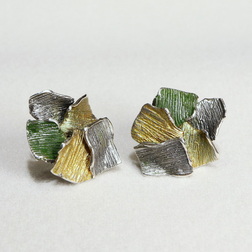 Greenish-Yellow Flowers Fragment Earrings (1143153XPP)
