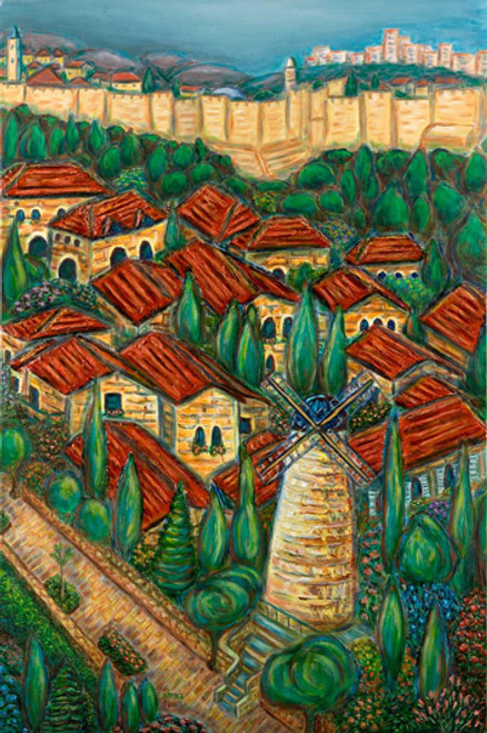 Yemin Moshe - Giclee, with Frame, by Geula Twersky