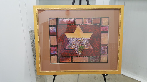 "Jerusalem in Magen David  framed by Victor Shrem 16.5"" x 23.5"""