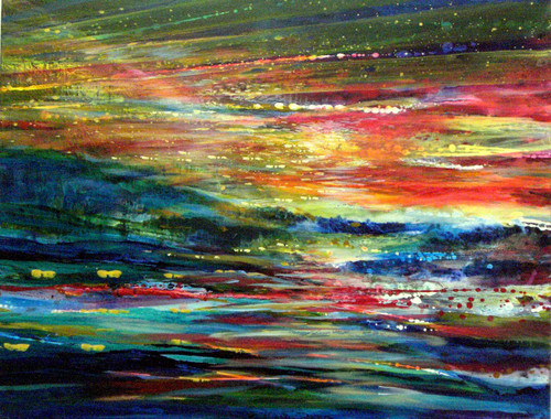 Rainbow Landscape Large Mixed Media by Yoram  Raanan