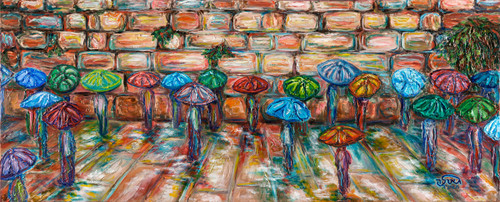 Umbrella at the Kotel Original by Geula Twersky