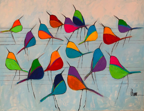 Colorful Birds Fine Art Print Large by Johanan Herson