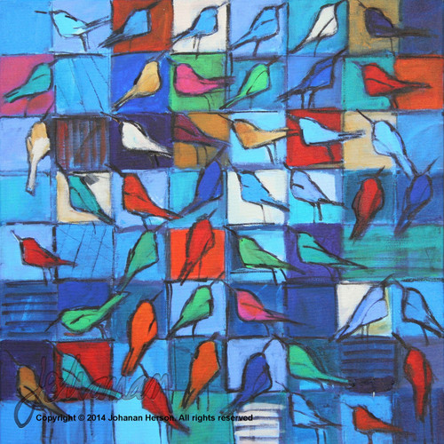"Bird Talk by Johanan Herson 25"" x 25"""