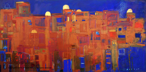 "Blue Jerusalem by Johanan Herson 27"" x 55"""