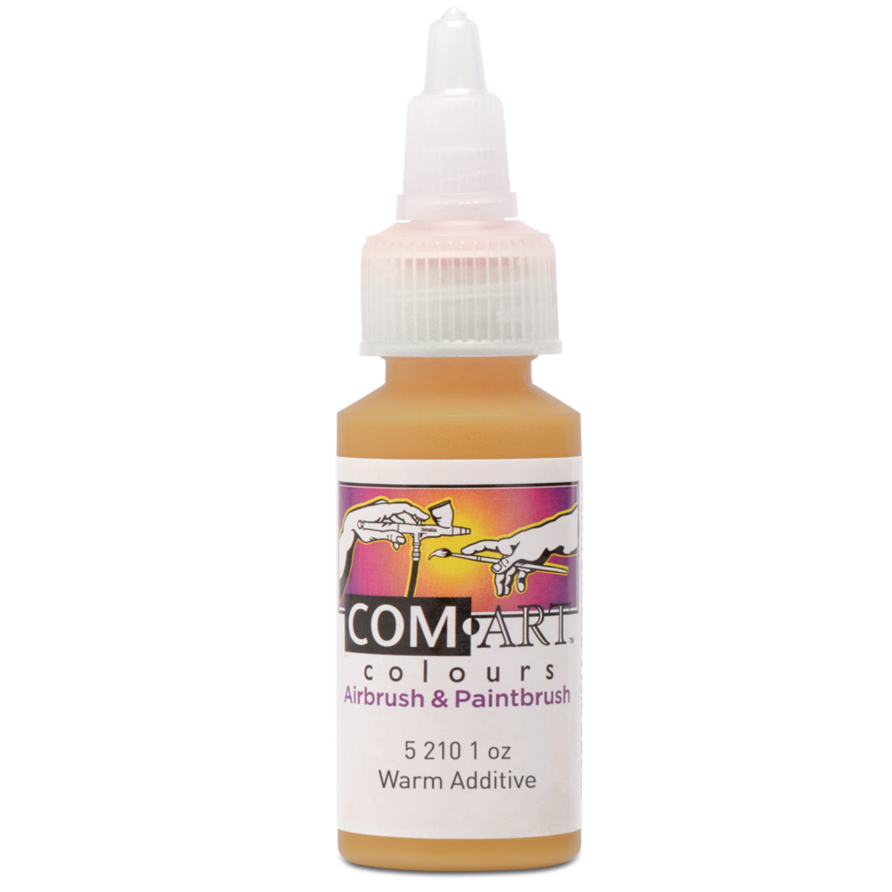 Com Art Colours Water-Based Acrylic Transparent Warm Additive 1oz For Airbrush And Paintbrush