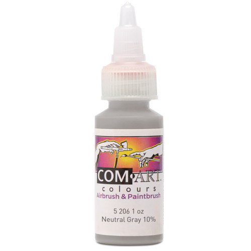 Com Art Colours Water-Based Acrylic Opaque Neutral Gray 10% 1oz For Airbrush And Paintbrush