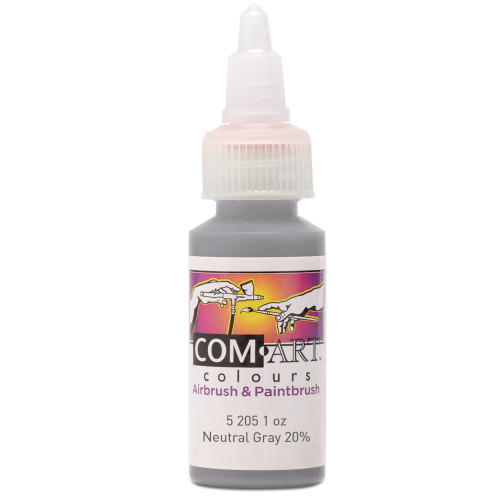 Com Art Colours Water-Based Acrylic Opaque Neutral Gray 20% 1oz For Airbrush And Paintbrush