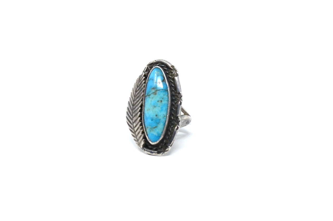 Sterling Silver Feather Ring Indian Antiqued Patina Turquoise Statement Ring Thumb Ring Pinky Ring Unisex Size 5 6