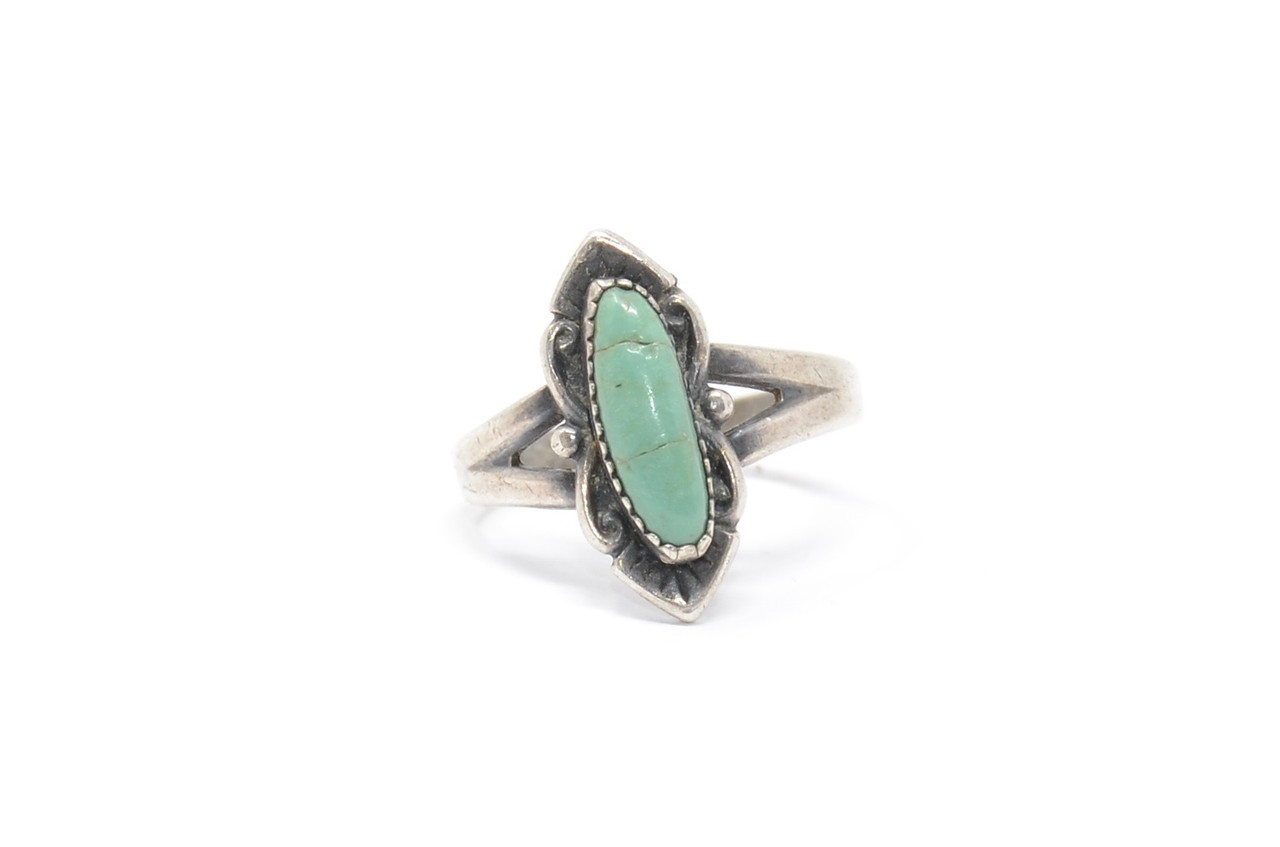Sterling Silver Vintage Turquoise Bell Trading Post Size 6 12 Native American Ring