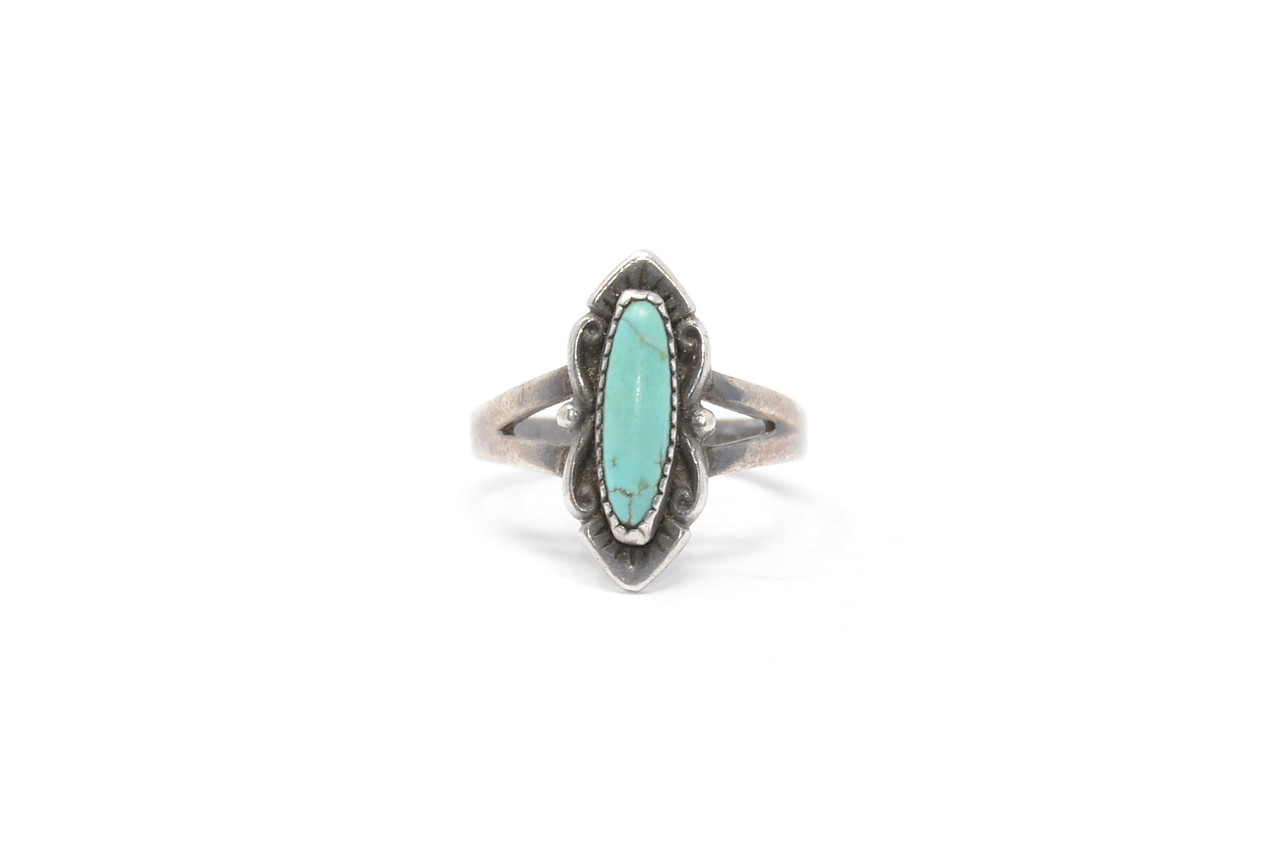 Vintage Turquoise Inlaid Sterling Silver Wedding Band Ring Size 6.75 Hippie Stacker New Old Stock Bell Trading Post Southwestern Jewelry
