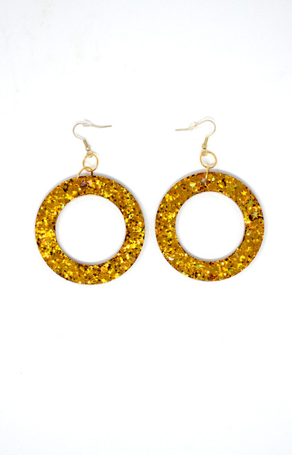 Gold Donuts | Handmade Glitter Earrings
