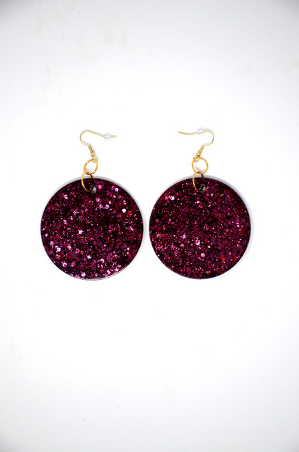 Garnet Disk | Handmade Glitter Earrings