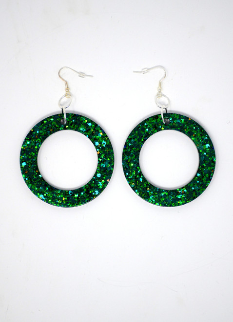 Emerald Donuts | Handmade Glitter Earrings