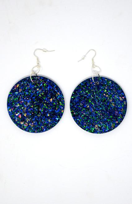 Sapphire Disk | Handmade Glitter Earrings