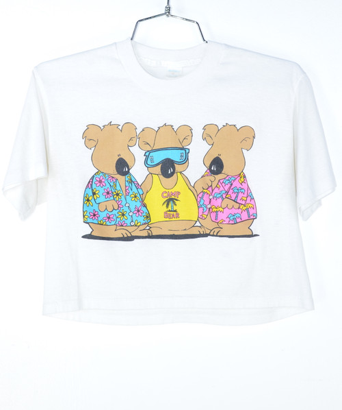 Camp Bear Cropped Poly Blend Tee