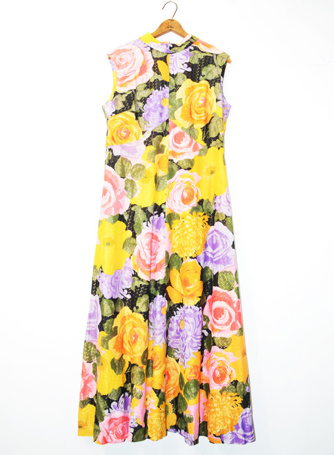 1970's Sleeveless Glitter Floral Maxi Dress