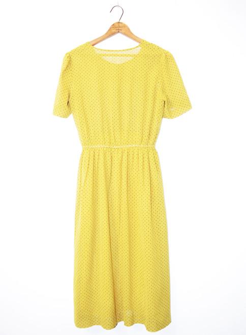 Vintage Chartreuse Cotton Gauze Polka Dot Dress