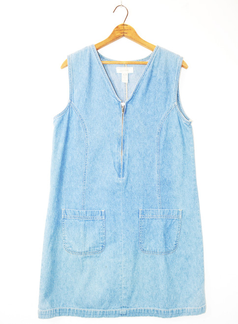 1990's Denim Zip-Up Mini Dress