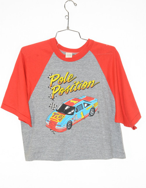 Made in USA Single Stitch Cropped Pole Position Raglan Tee