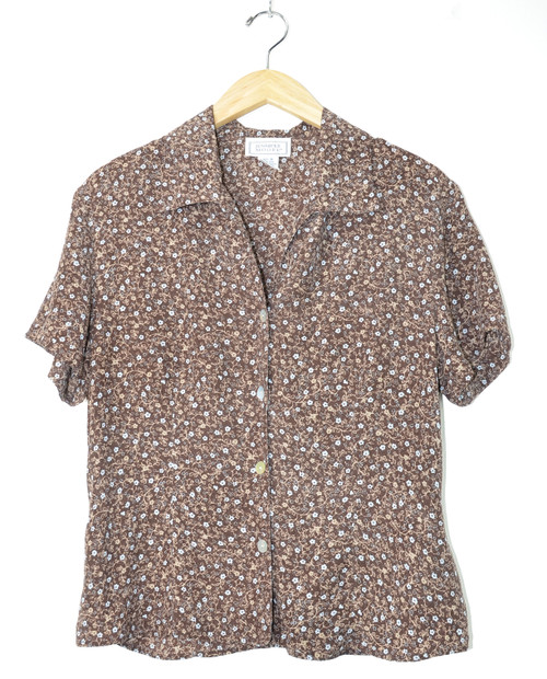 Brown Floral Short Sleeve Button Up