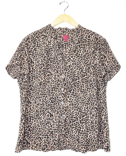 Pleated Cheetah Print Button Down