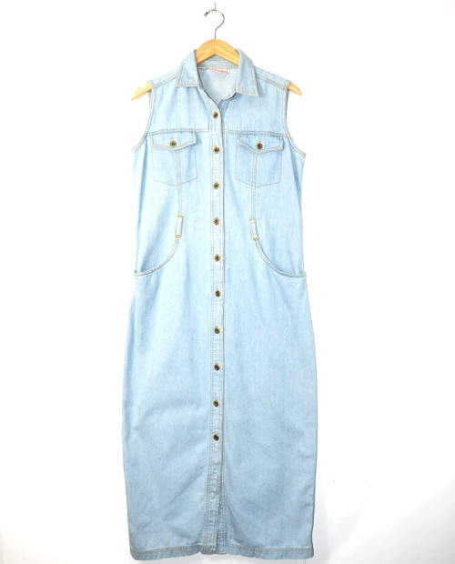 Denim Button-Up Maxi Dress