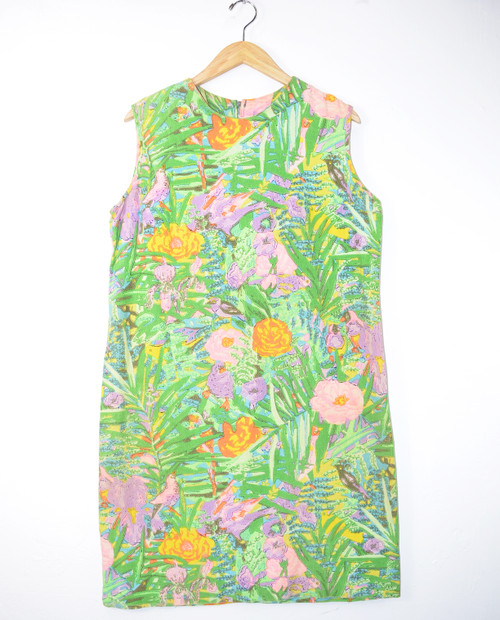 1960's Tropical Print Shift Dress