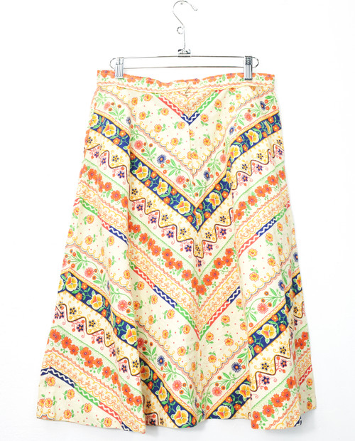 Retro Floral Midi Skirt