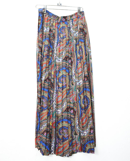 Pleated Paisley Maxi Skirt