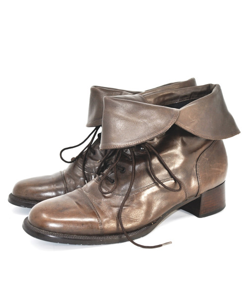 Leather Fold-Over Boots