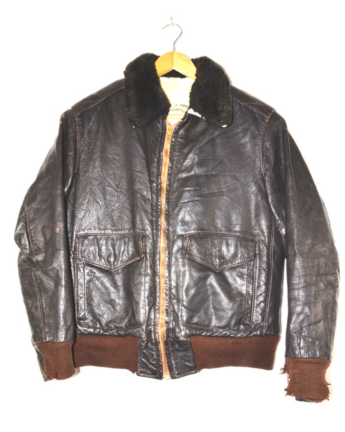 LL Bean Leather Bomber Jacket with Shearling Collar