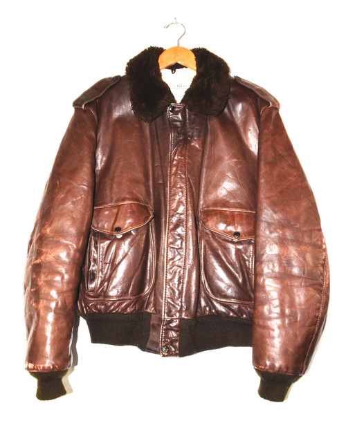 Schott Brothers Brown Leather Bomber Jacket