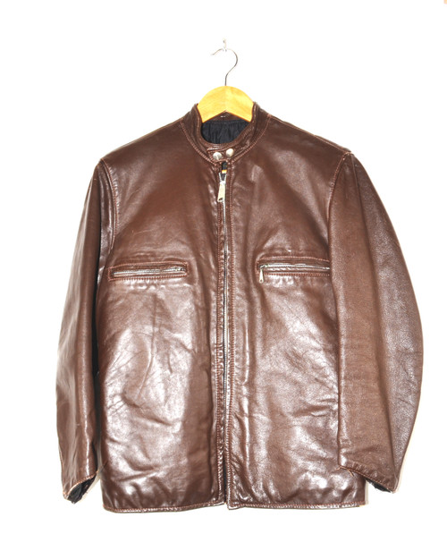 Brooks Brown Cafe Racer Leather Jacket