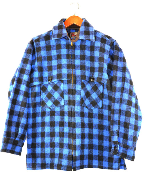Blue Plaid Zip Up CPO Jacket