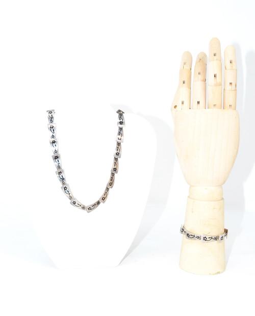Sterling Flower Necklace and Bracelet Set