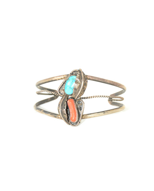 Sterling Turquoise and Coral Cuff