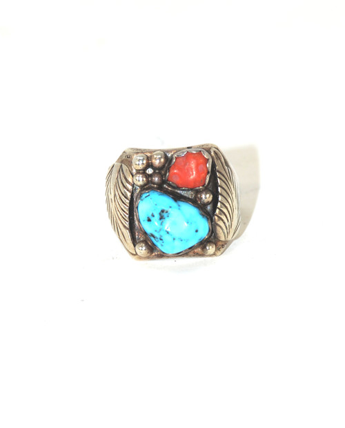 Sterling Turquoise and Coral Ring